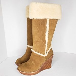UGG Aubrie Tall Brown Sheepskin Boots Size 7.5